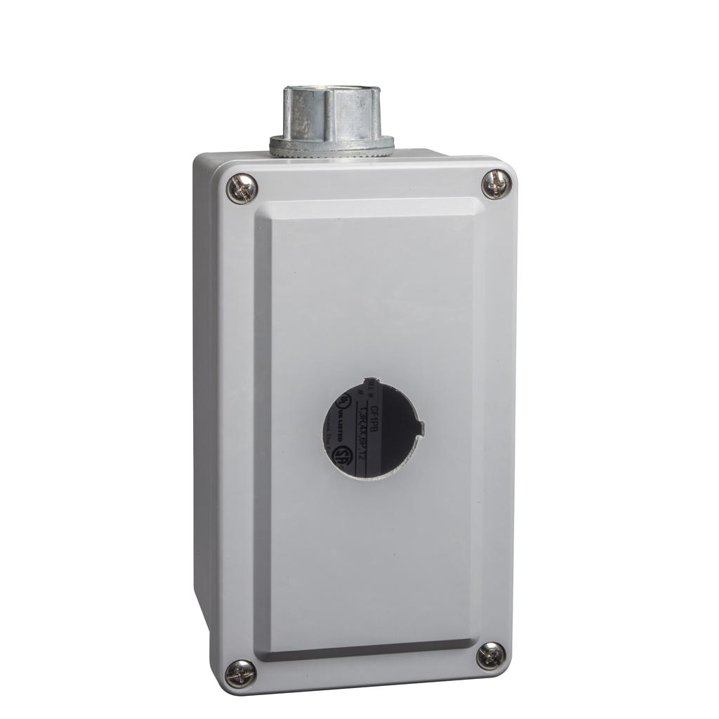 30mm Push Button, Types K or SK, empty push button enclosure, cast aluminium, one 30 mm hole, NEMA 4 and 13