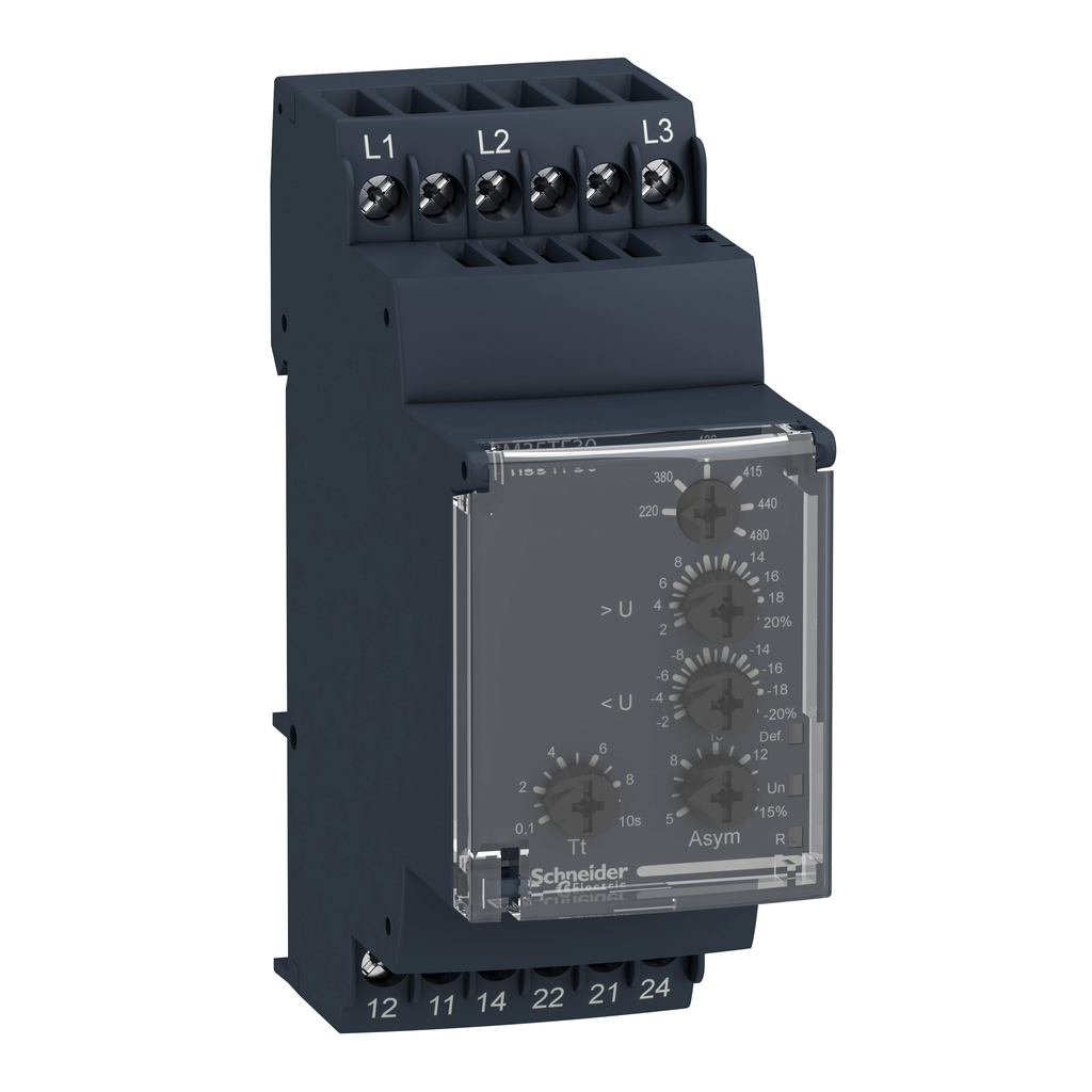 Zelio, 3 phase supply control relay, range 220 to 480 VAC, sequence, phase failure, phase imbalance, voltage