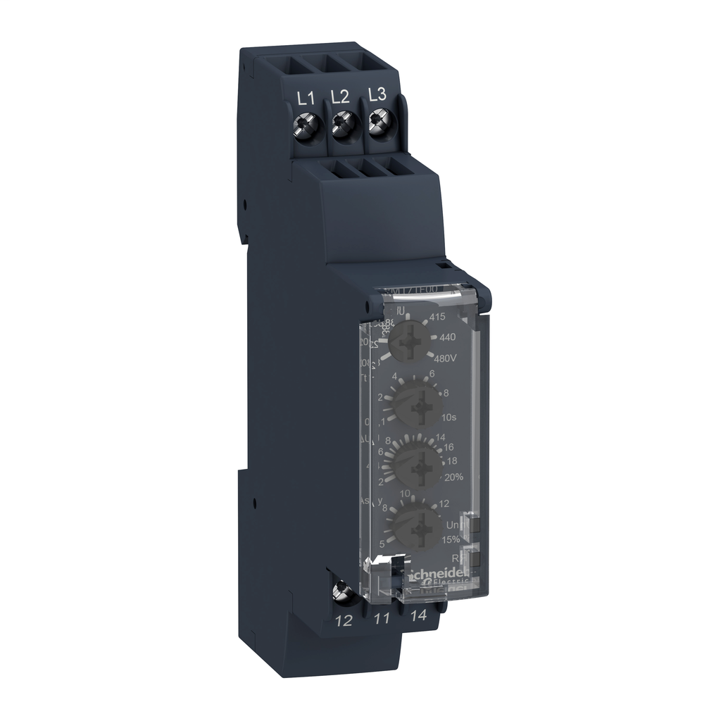 Zelio, 3 phase supply control relay, range 208 to 480 VAC, sequence, phase failure, phase imbalance, voltage