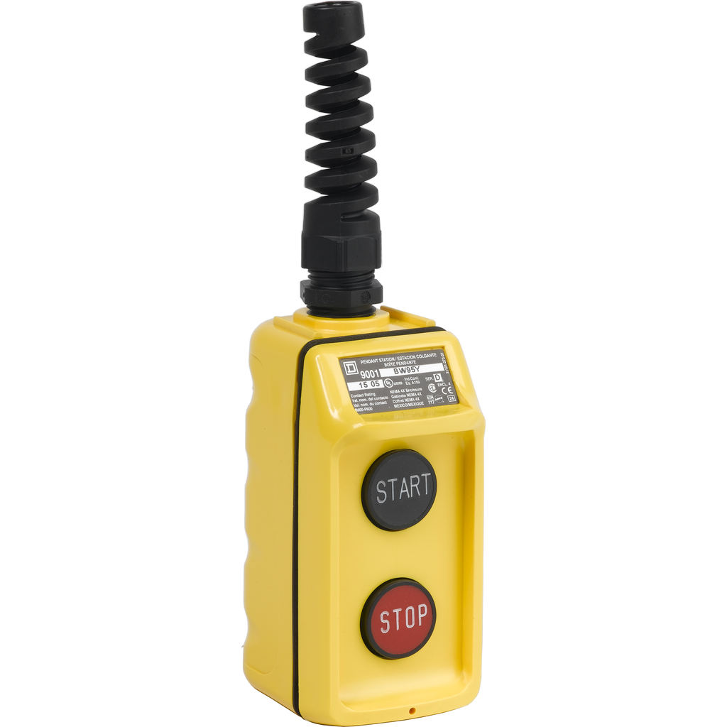Pendant Station, 2 push buttons, not interlocked, NO contacts, START STOP, yellow enclosure, 600 VAC 5 A