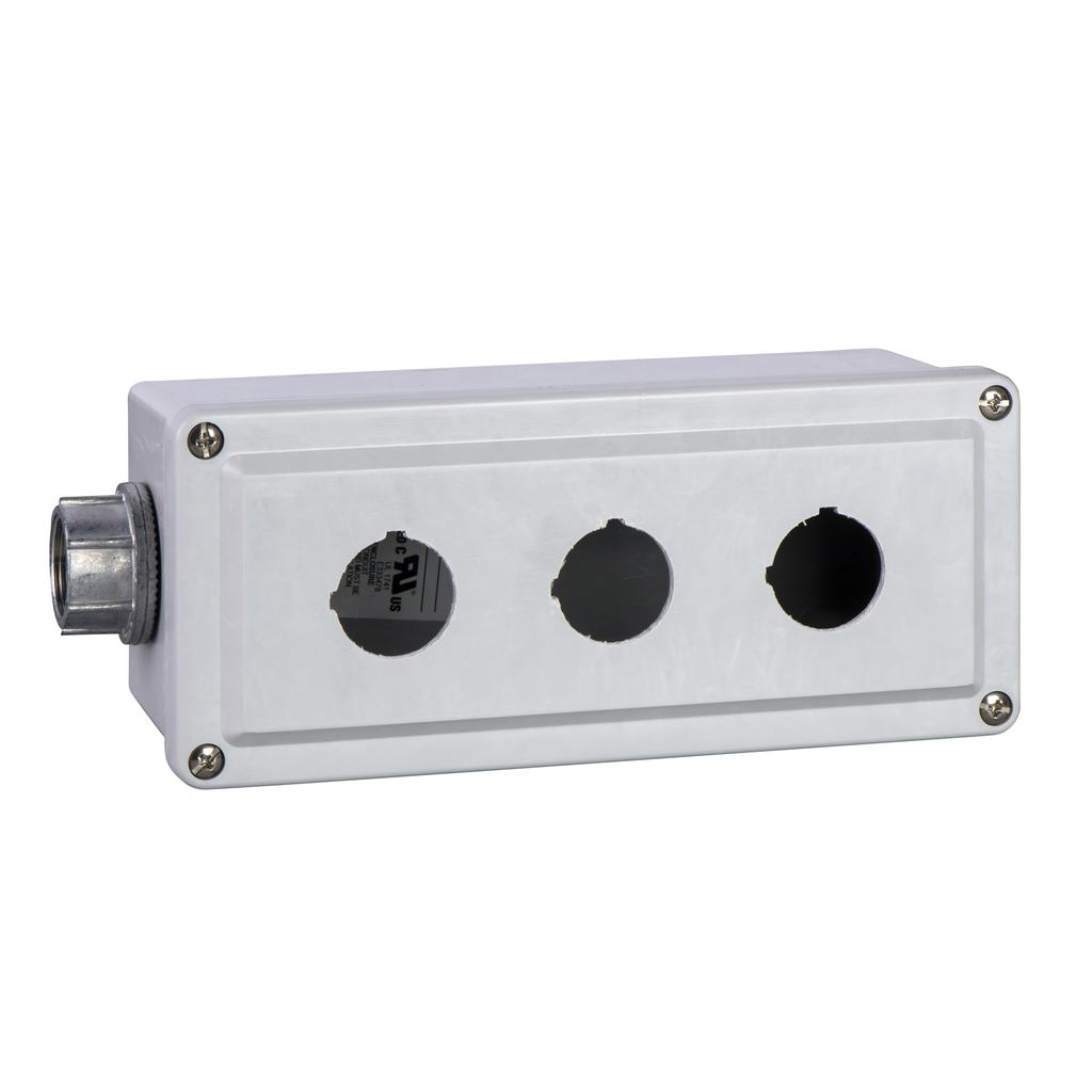 30mm Push Button, Types K or SK, empty push button enclosure, cast aluminium, three 30 mm holes, NEMA 4 and 13