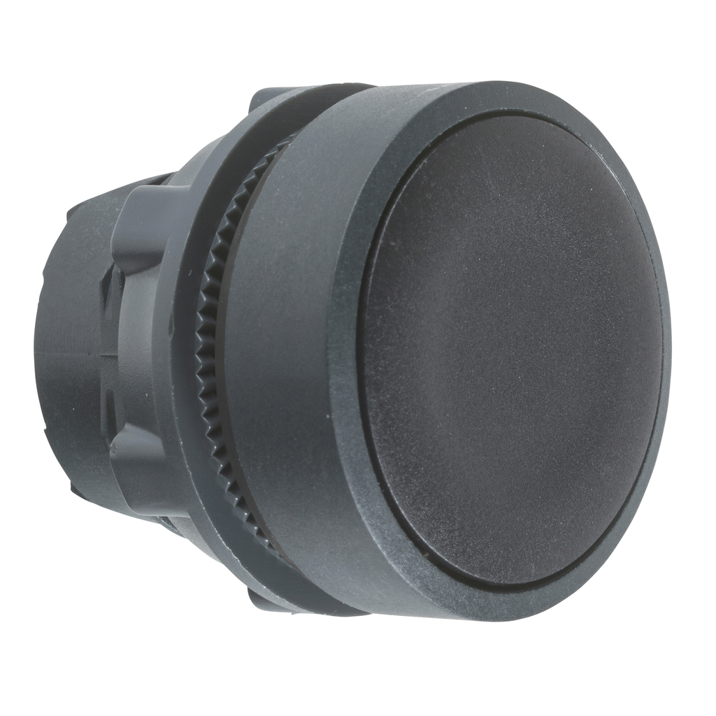 Harmony, 22mm Push Button, flush push button head, spring return, black, unmarked