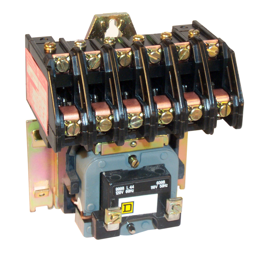 8903L electrically held lighting contactor, 6 P, 6 NO, 30 A, 600 V, 110/120 V 50/60 Hz coil, open