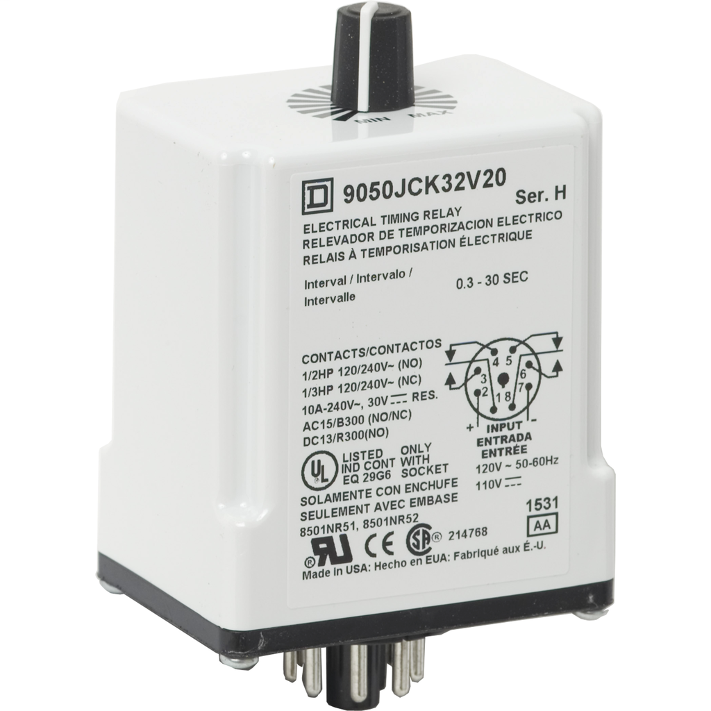 Plug In Timer, interval, 0.3 to 30 seconds, 120 VAC 110 VDC