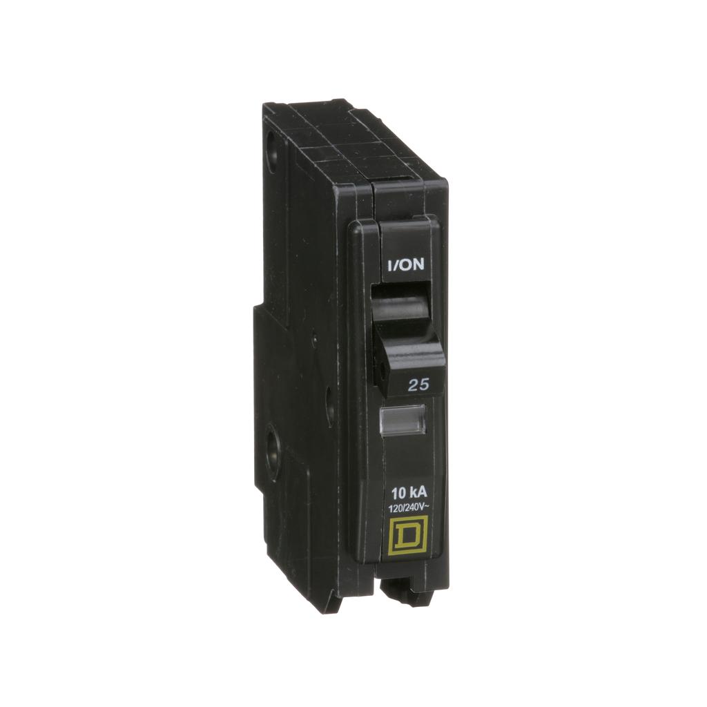 QO mini breaker, 25 A, 1 pole, 120/240 V, 10 kA, plug in