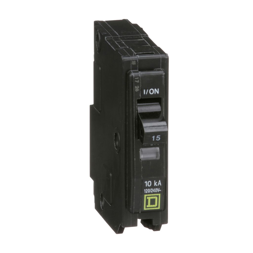 QO mini breaker, 15 A, 1 pole, 120/240 V, 10 kA, plug in