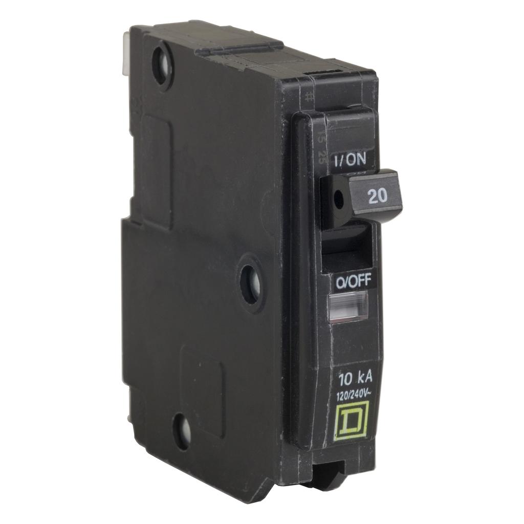 QO mini breaker, 20 A, 1 pole, 120/240 V, 10 kA, plug in