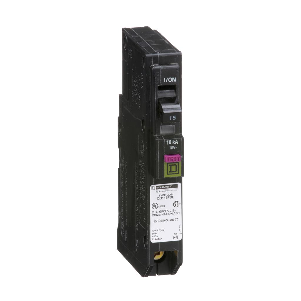 Mini CB, QO, 15 A, 1P, 120 V, 10 kA, Plug in, Dual Func