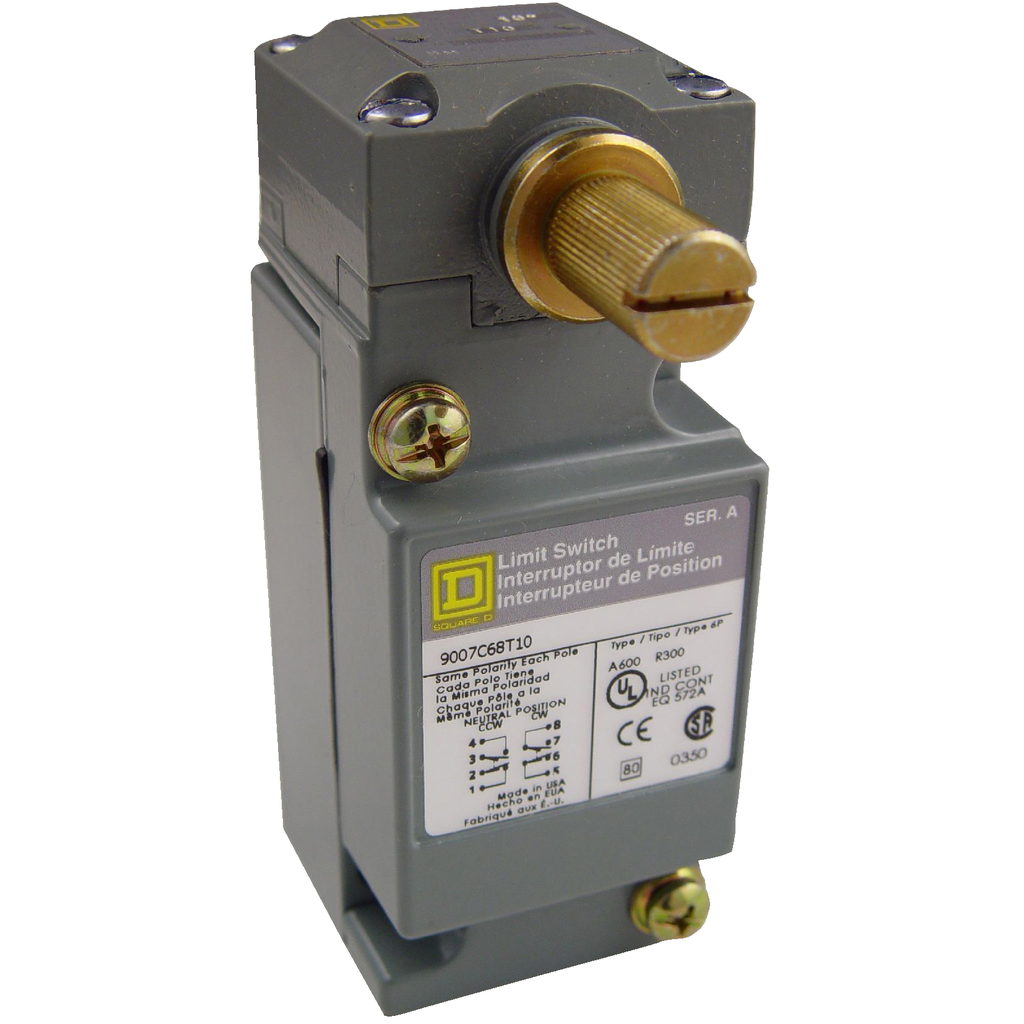 Limit switch, 9007C, full body, rotary lever arm head, neutral position, spring return, 2 NO and 2 NC, NEMA 4 and 13