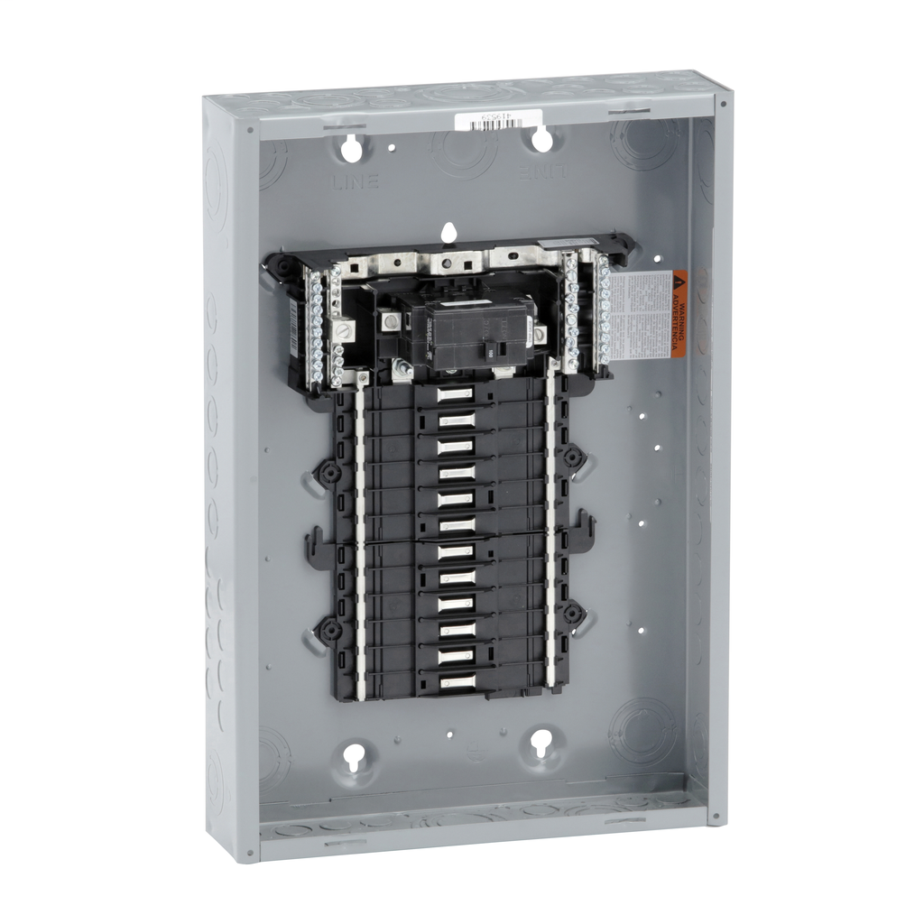 QO LoadCenter, Main Breaker, 100A, 1PH-3W, 24SP, NEMA 1, PON