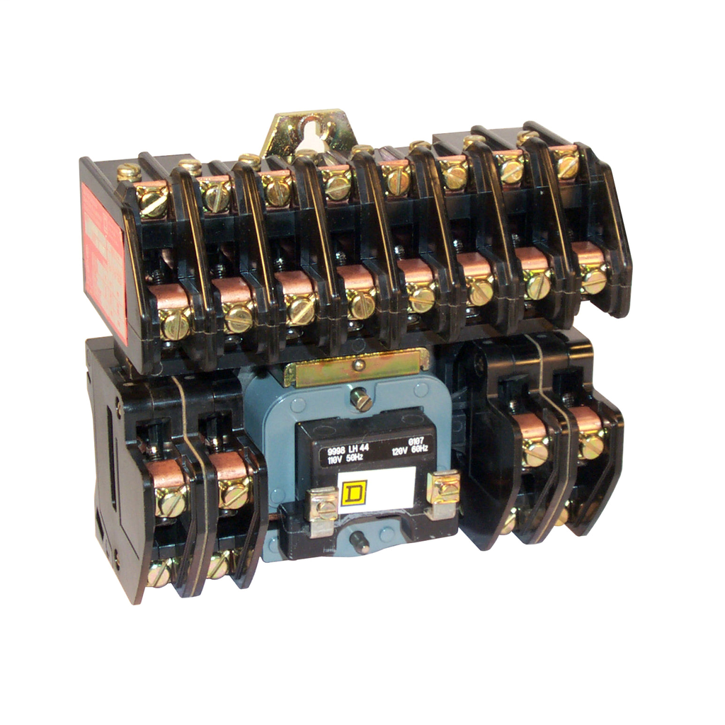 8903L electrically held lighting contactor, 12 P, 12 NO, 30 A, 600 V, 110/120 V 50/60 Hz coil, open
