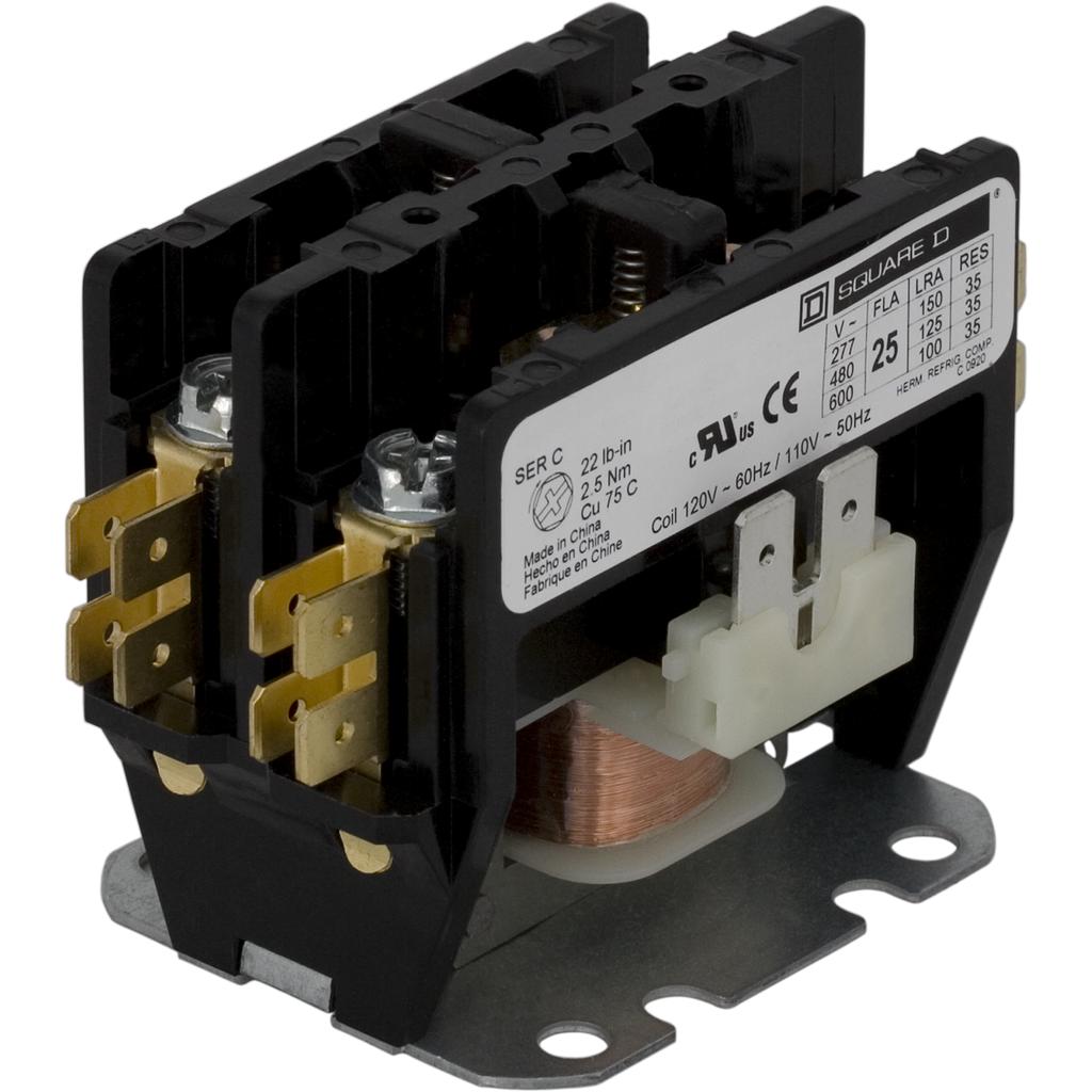 SQUARE D 8910DPA73V02 120VAC Non-Reversing Definite Purpose Contactor 3P 75A