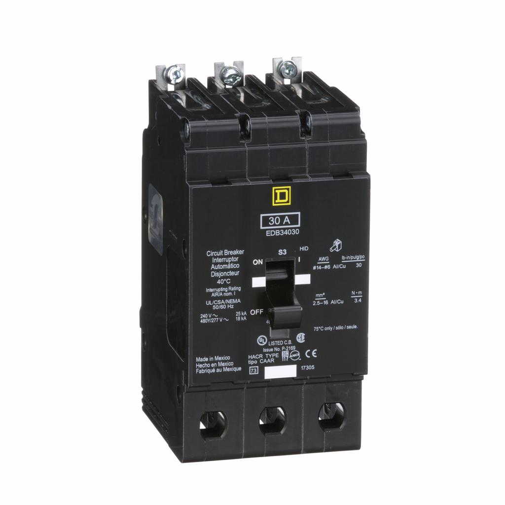 QOB3401021 Square D 3 Pole Bolt-on with 120 Volt Shunt Trip Thermal Magnetic Miniature Breaker 240-Volt 40-Amp QOB340-1021 40 Amp
