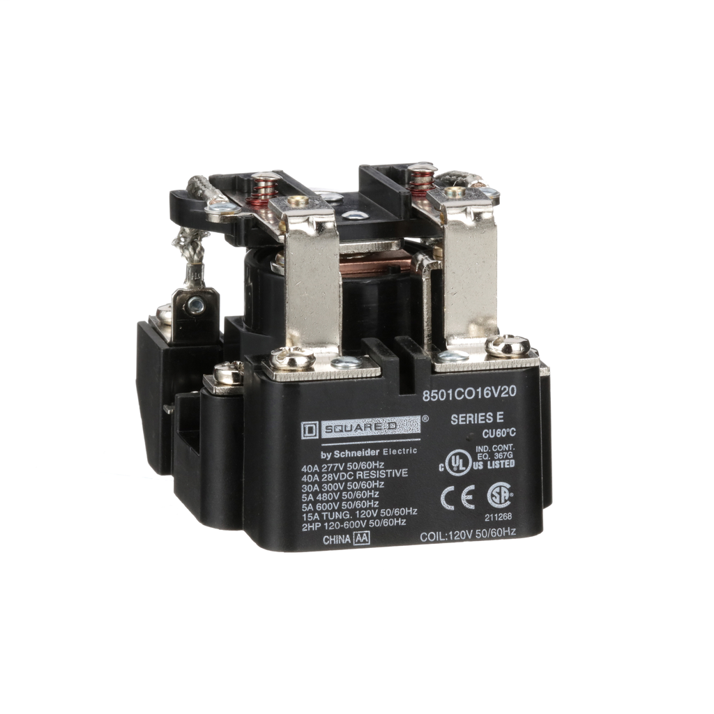 SQUARE D Power Relay, DPDT, 2 NO and 2 NC, 1.5 HP, 30 A resistive at 300 V, 120 VAC coil