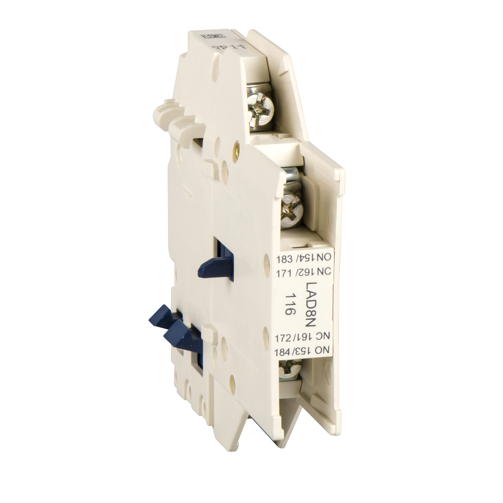 SCHNEIDER ELECTRIC Auxiliary contact block, TeSys D, 1NO + 1NC, side mounting, lugs-ring terminals
