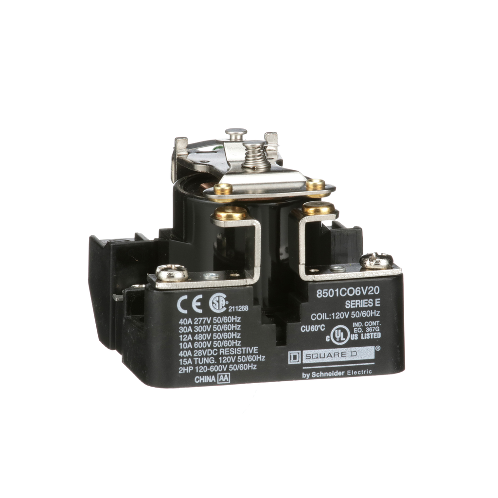 SQUARE D Power Relay, SPST, 1 NO and 0 NC, 2.0 HP, 30 A resistive at 300 V, 120 VAC coil
