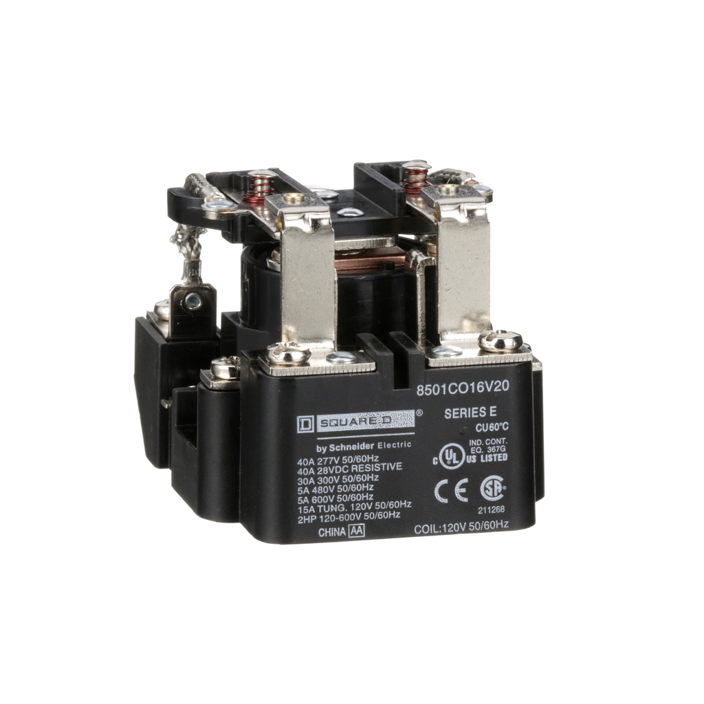SCHNEIDER ELECTRIC Power Relay, DPDT, 2NO and 2NC, 1.5 HP, 30 A resistive at 300 VAC, 120 VAC coil