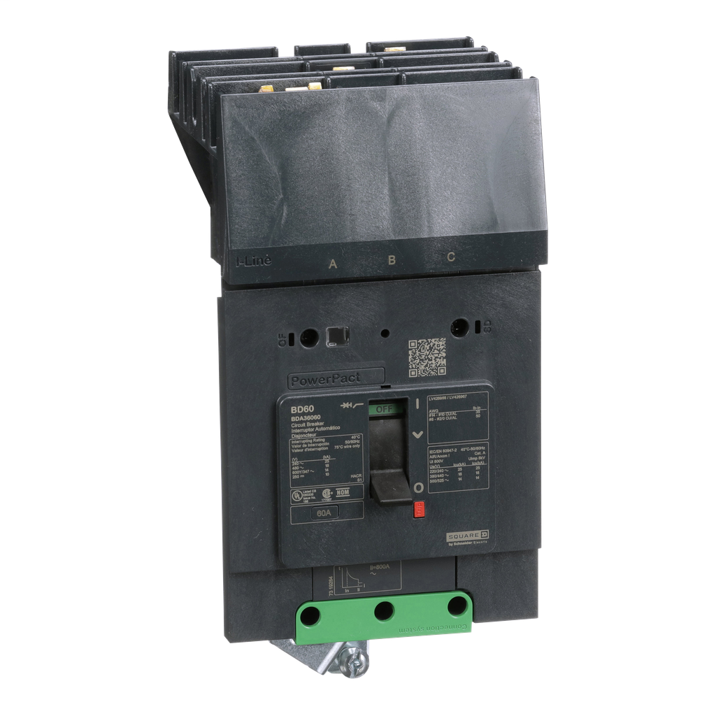 SQUARE D PowerPact B Circuit Breaker, 60A, 3P, 600Y/347V AC, 14kA at 600Y/347 UL, I-Line