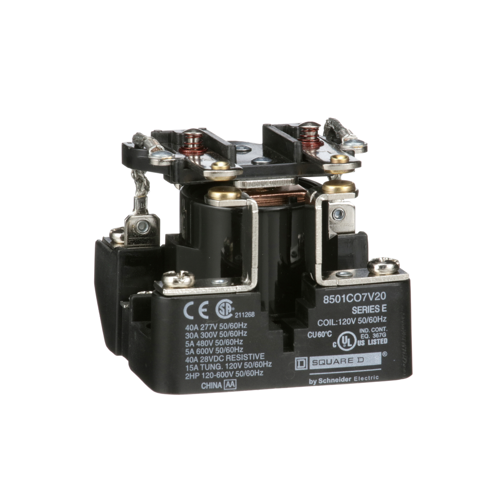 SCHNEIDER ELECTRIC Power Relay, DPST, 2NO and 0NC, 1.5 HP, 30 A resistive at 300 VAC, 120 VAC coil
