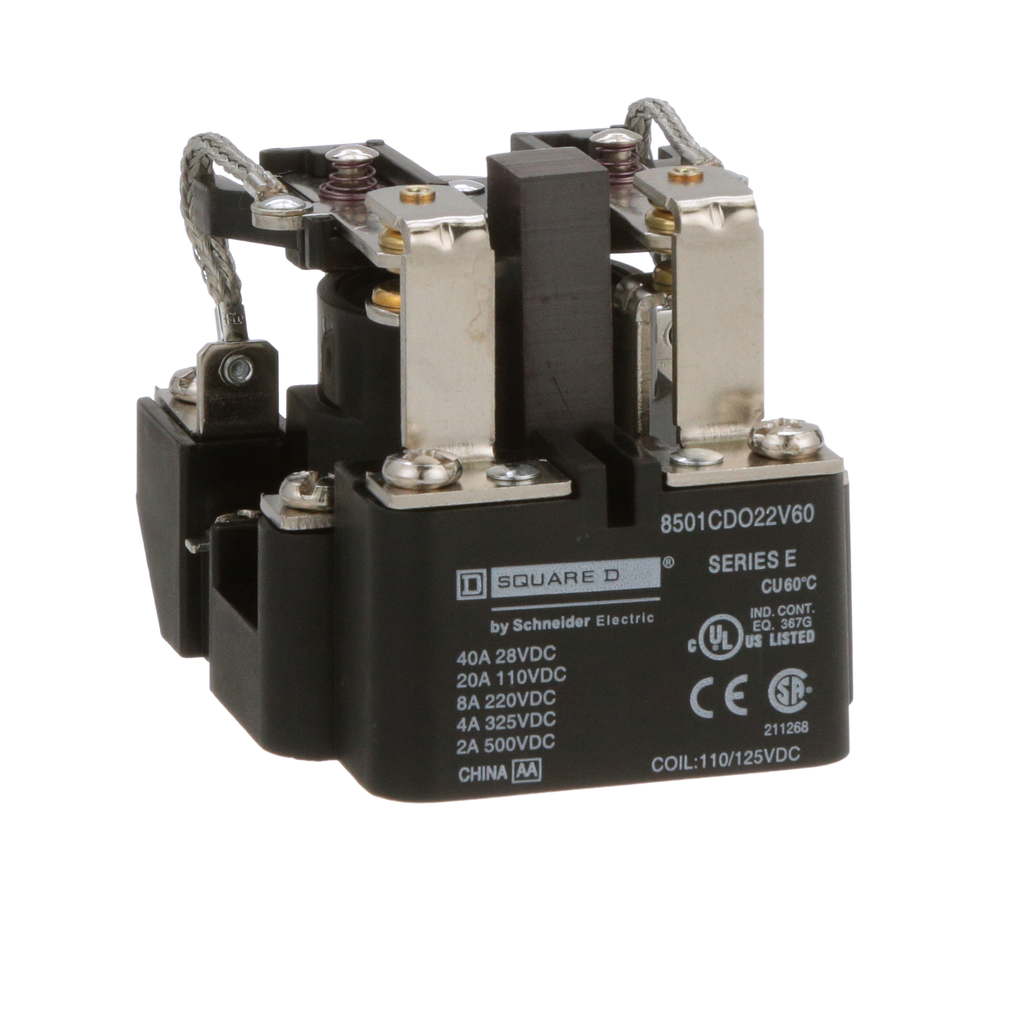 SQUARE D Power Relay, DPDT, 2NO and 2NC, 10 A resistive at 110 VDC, 110 VDC coil