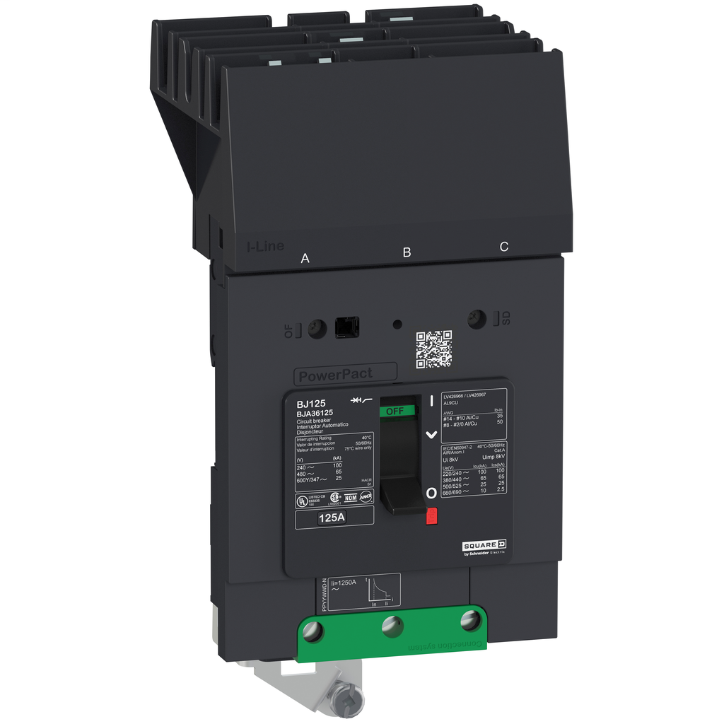 PowerPact B Circuit Breaker, 110A, 3P, 600Y/347V AC, 14kA at 600Y/347 UL, I-Line