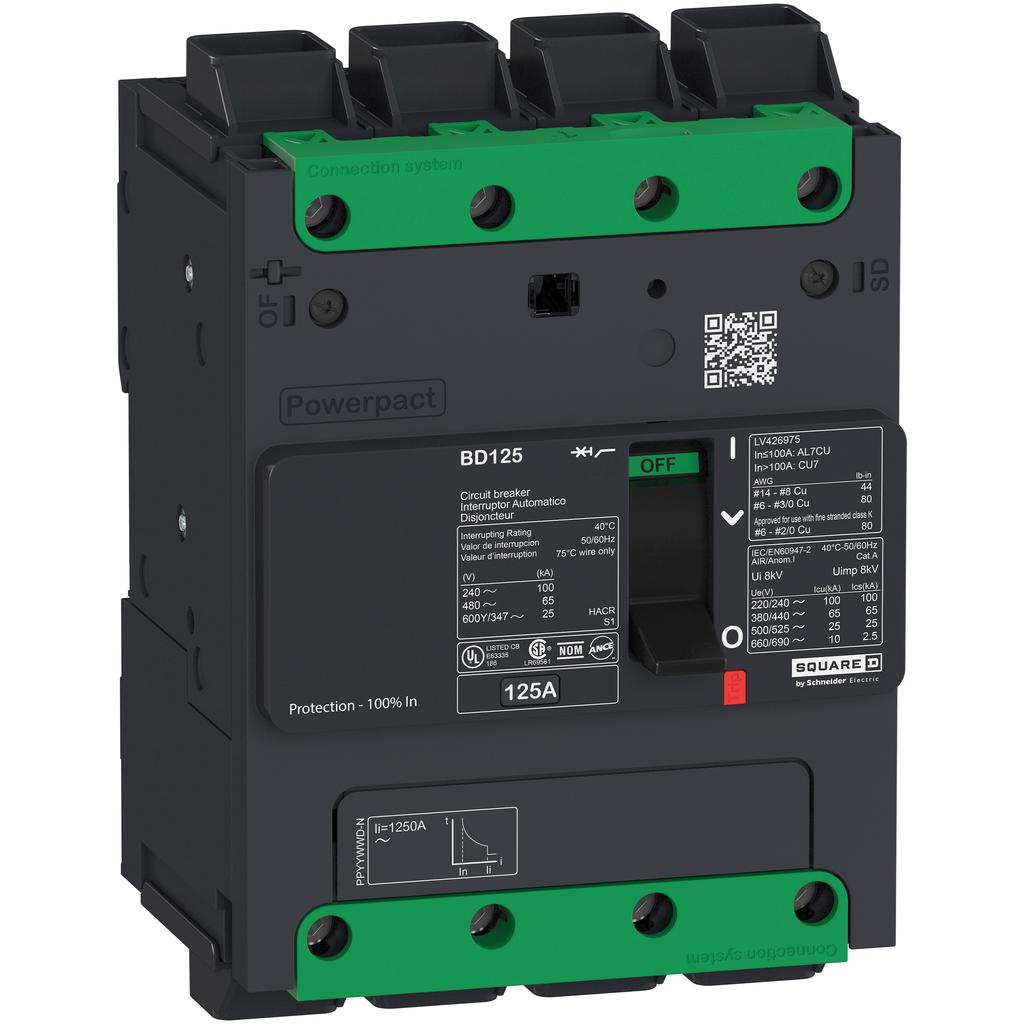 PowerPact B Circuit Breaker, 50A, 4P, 600Y/347V AC, 14kA at 600Y/347 UL EverLink