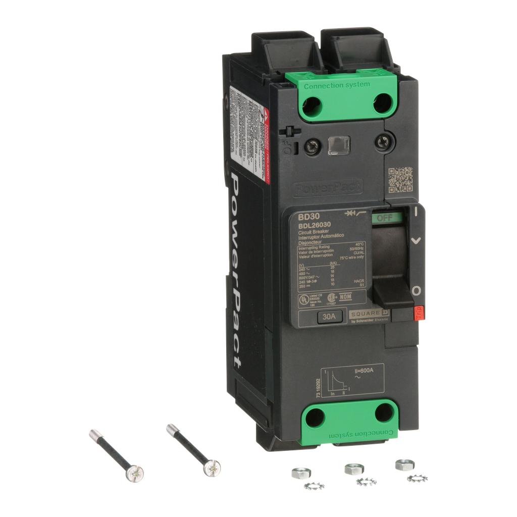 PowerPact B Circuit Breaker, 30A, 2P, 600Y/347V AC, 14kA at 600Y/347 UL EverLink