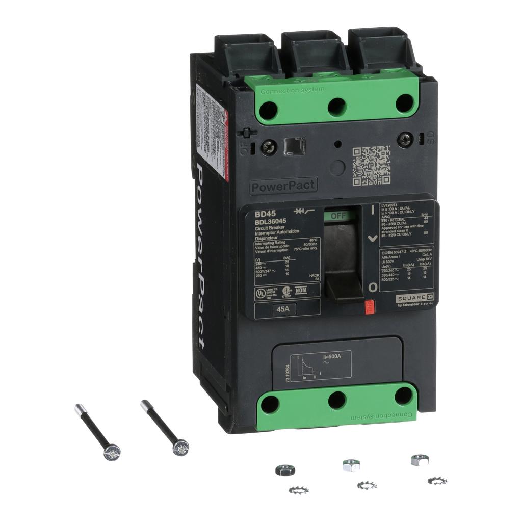 PowerPact B Circuit Breaker, 45A, 3P, 600Y/347V AC, 14kA at 600Y/347 UL EverLink