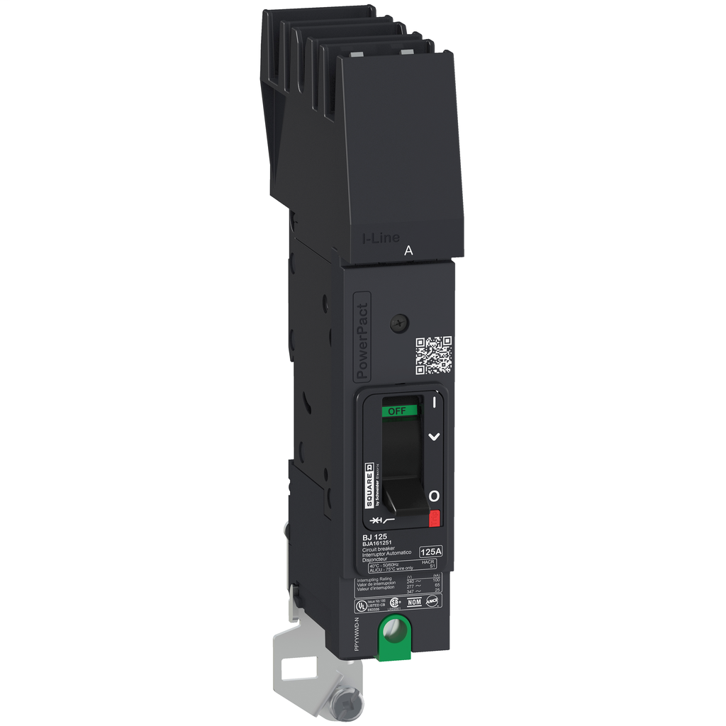 PowerPact B Circuit Breaker, 45A, 1P, 347V AC, 14kA at 600Y/347 UL, I-Line