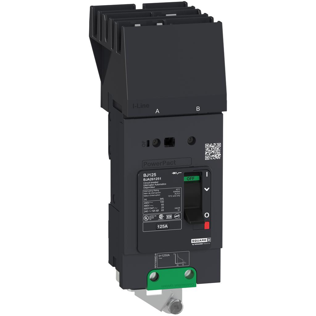 PowerPact B Circuit Breaker, 125A, 2P, 600Y/347V AC, 14kA at 600Y/347 UL, I-Line