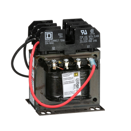 Transformer, Type T, industrial control, 75 VA, 120/240 VAC primary / 24 VAC secondary, 1 phase, 50/60 Hz, 55 °C rise