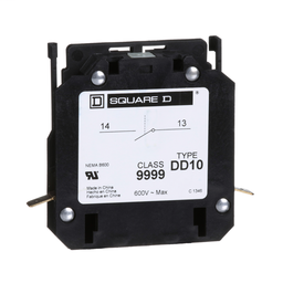 9999DD10 - Contactor, Definite Purpose, auxiliary contact, 3A at 120 VAC, 1 NO contact, for 20A to 40A DPA contactors