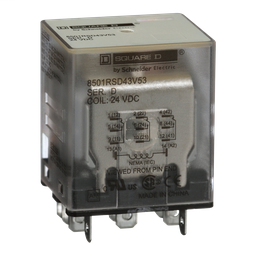 8501RSD43V53 - Plug in relay, Type R, miniature, 1 HP at 277 VAC, 15A resistive at 120 VAC, 11 blade, 3PDT, 3 NO, 3 NC, 24 VDC coil