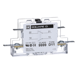 9999D11 - Contactor, Definite Purpose, auxiliary contact, 3A at 120 VAC, 1 NO contact and 1 NC contact, for 50A to 90A contactors
