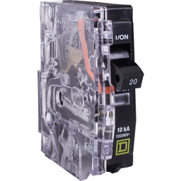 SK5471F - Mini circuit breaker, QO, 20A, 1 pole, 120/240 VAC, 10 kA, plug in mount, clear side