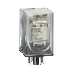 8501KUR13P14V24 - Plug in relay, Type KU, blade, 0.5 HP at 240 VAC, 10A resistive at 120 VAC, 11 blade, 3PDT, 3 NO, 3 NC, 240 VAC coil