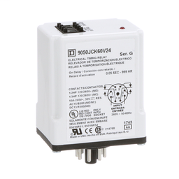 9050JCK60V24 - Timing Relay, Type JCK, plug In, on delay, programmable, 0.5 second to 999 hours, 10A, 240 VAC, 240 VAC 50/60 Hz