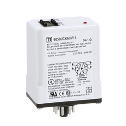 9050JCK60V14 - Timing Relay, Type JCK, plug In, on delay, programmable, 0.5 second to 999 hours, 10A, 240 VAC, 24 VAC/DC