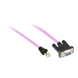 TCSCCN4F3M05T - CANopen preassembled cable – for CANopen bus – 0.5 m – 1 RJ45, 1 female SUB-D 9