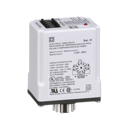 9050JCK70V14 - Timing Relay, Type JCK, plug In, multifunction, programmable, 0.5 second to 999 hours, 10A, 240 VAC, 24 VAC/DC