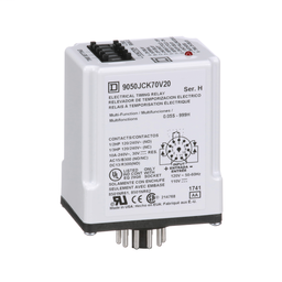 9050JCK70V20 - Timing Relay, Type JCK, plug In, multifunction, programmable, 0.5 second to 999 hours, 10A, 240 VAC, 120 VAC/110 VDC
