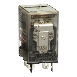 8501RSD42V51 - Plug in relay, Type R, miniature, 1 HP at 277 VAC, 15A resistive at 120 VAC, 8 blade, DPDT, 2 NO, 2 NC, 12 VDC coil