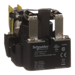 199ADBMYX-35 - Power relay, Legacy, SPST-DB, 40A, 240 VAC, magnetic blowout, auxiliary switch