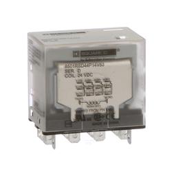 8501RSD44P14V53 - Plug in relay, Type R, miniature, 1 HP at 277 VAC, 15A resistive at 120 VAC, 14 blade, 4PDT, 4 NO, 4 NC, 24 VDC coil