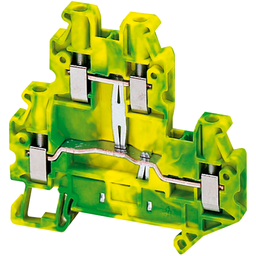 NSYTRV44DPE - SCREW TERMINAL, DOUBLE LEVEL, PROTECTIVE EARTH, 4 POINTS, 4MM², GREEN