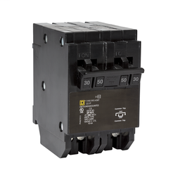 HOMT230250CP - Quad tandem mini circuit breaker, Homeline, 1 x 2 pole at 30A, 1 x 2 pole at 50A, 120/240 VAC, 10 kA AIR, plug in mount