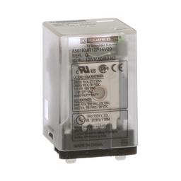 8501KUR12P14V20 - Plug in relay, Type KU, blade, 0.5 HP at 240 VAC, 10A resistive at 120 VAC, 8 blade, DPDT, 2 NO, 2 NC, 120 VAC coil
