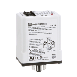 9050JCK70V24 - Timing Relay, Type JCK, plug In, multifunction, programmable, 0.5 second to 999 hours, 10A, 240 VAC, 240 VAC 50/60 Hz