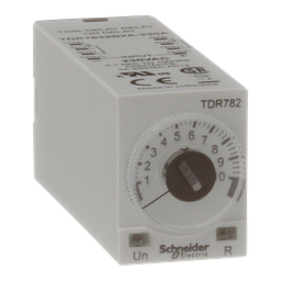 TDR782XBXA-230A - Time delay relay, Legacy, DPDT, 5A, 230 VAC, 100 ms to 100 hours, 7 time scales, on-delay function, socket compatible