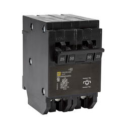 HOMT225250CP - Quad tandem mini circuit breaker, Homeline, 1 x 2 pole at 25A, 1 x 2 pole at 50A, 120/240 VAC, 10 kA AIR, plug in mount